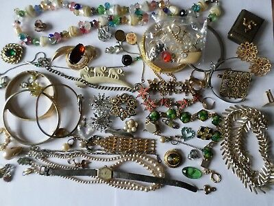 BROKEN vintage costume jewellery for crafters harvesting jewellery makers