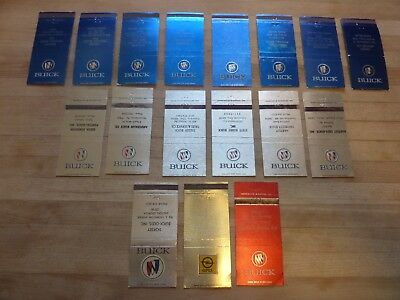 Buick Dealership Matchbook Cover Lot (Total of 17 1960's-1970's Vintage)