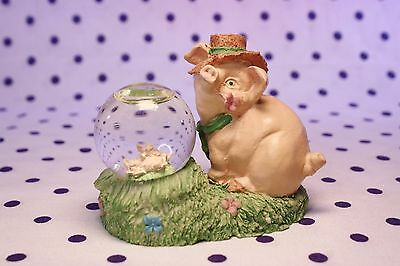 Pig Figurine Piglets in Snow Globe Sow How Farm Hat Flower in Mouth Neck Tie