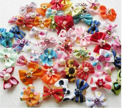 20/50/100pcs /set Dog hair flower pet dog hair bows pet hair accessories dog hai