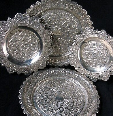 4 antique Kutch embossed chased coriander pattern sterling silver trays salvers