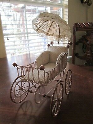 Antique Small Metal Doll Pram With Attached Parasol