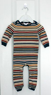 445. JACK & MILLY Baby Boys Striped Knit LS Romper - Size 0