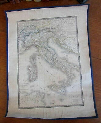 Italy Italia 1828 Brue linen backed old map very scarce