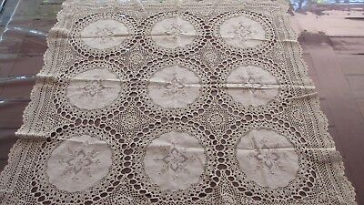 Antique Beige Embroidered  & Lace Table Cloth, ,95cms x  85cms,
