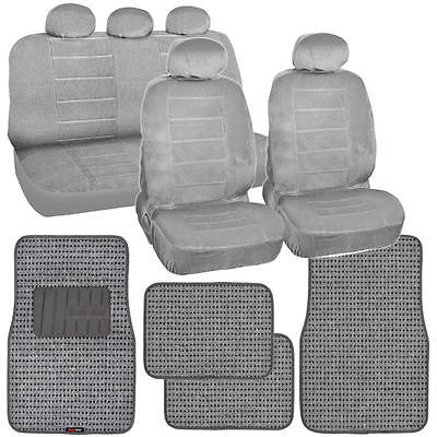 Vintage Regal Car Seat Covers + Classic Thick Woven Car Floor Mats - 13 PC Gray