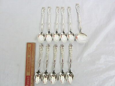 Lot of 11 Nouveau 10 Teaspoons 1 Server 830 Solid Silver N. Saaby Denmark 1911