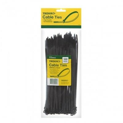 CABLE TIE 250mm x 5mm Black Nylon UV Stabalised Cable Ties Pk 100 Tridon CT255BK
