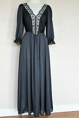 Vintage Olga 92067 Nightgown Medium Women black full sweep 3/4 sleeve