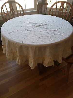 "Vintage Ivory Shabby Chic Cottage Floral Ruffle Round Tablecloth 67"" Diameter"