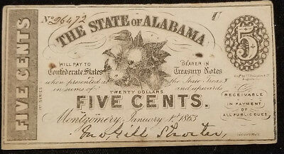 1863 Confederate 5 cent fractional State of Alabama currency Montgomery (inv#5)