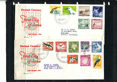 Nauru 1966 Complete Set Of New Decimals On Two Fdc First Day Stamp Cover Lot 155