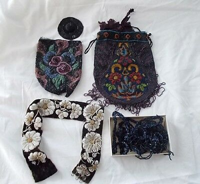 Antique Lot of Assorted Beadwork Purses and Belts AS IS