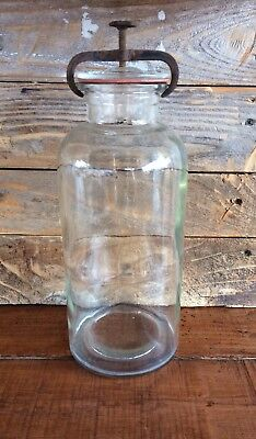 Large Antique Wheaton Apothecary Jar with Iron Screw Clamp Since 1888 - Clear
