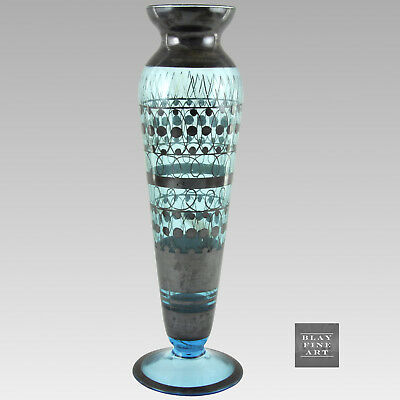 """Antique Sterling Silver Overlay Blue Art Glass Vase Geometric Unsigned 11"""""""