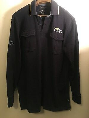 9ccd3f75 Nautica Slim Fit Extra Large Heritage Chest Logo Navy Long Sleeve Polo Shirt