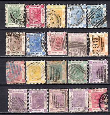 Hong Kong China 1863-1902 Qv Selection Of Used Stamps Pmk Interest
