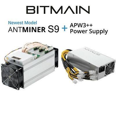 NO RESERVE Bitmain Antminer S9 13.5 TH/s BTC Miner w/ PSU, *IN HAND* Free Shpng
