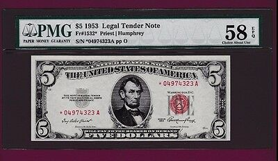 Fr.1532  $5   1953 **STAR**  LEGAL TENDER UNITED STATES PMG PCGS CHOOSE ONE NOTE