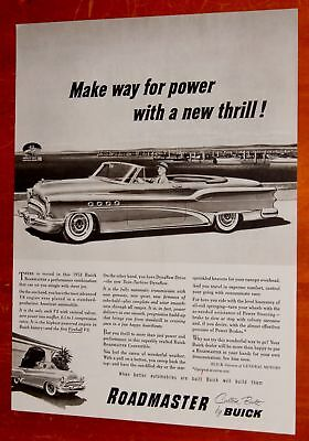 1953 Buick Roadmaster Convertible Ad + Speed Boat & Plane For Champion Plugs Ad