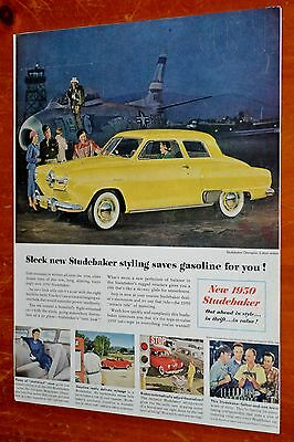 1950 Studebaker Champion 2 Door Sedan Ad + Saturday Evening Post Cover On Back