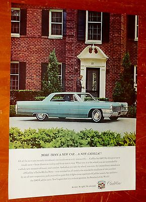 1965 Cadillac Coupe Deville In Blue With Fine American Home Ad - Vintage 1960S