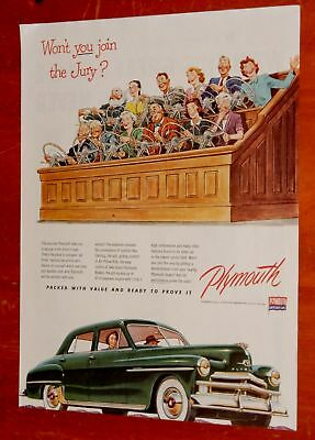 Beautiful 1950 Plymouth Special Deluxe Sedan & Jury Ad - American Retro 50S Auto