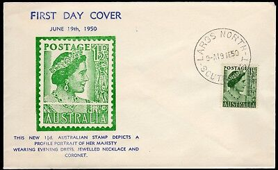 Australia 1950 Arthur Bergen (signed on back) first day cover for 1½d Queen