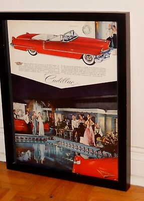 FRAMED 1956 CADILLAC COUPE DE VILLE CONVERTIBLE SEXY RED AD / VINTAGE 50s RETRO