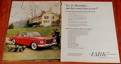 Large 1962 Studebaker Lark Coupe In Red Beautiful Ad - 60S Vintage Classic Car