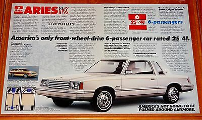 Large 1981 Dodge Aries Coupe Cool Vintage Ad - American Chrysler K Car Retro