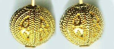 Gold Earrings Antique Russian 22kt Near East Crete Minoan Greek Granulated Style
