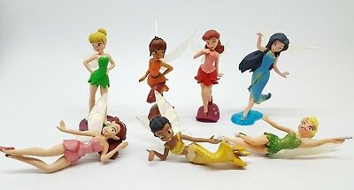 "Disney Tinkerbell and Fairies Friends Lot of (7) 1 1/2"" Topper Figures Set"