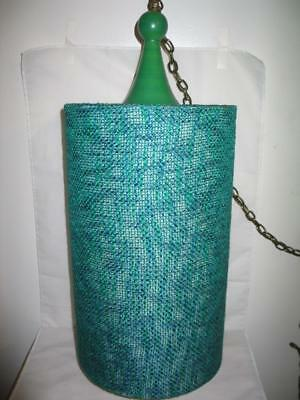 Vintage Mid Century Modern Green Thread Weave Swag Hanging Light Fixture Lamp