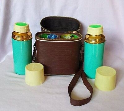 Retro Vintage 60s 70s Twin Thermos Flask + Carry Bag Case Kids Childs Kitsch