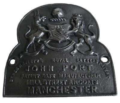 Very Rare Large Antique Heavy Cast John Port Manchester Safe Plate  (5130)