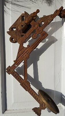 Vtg Cast Iron Kerosene Oil Lamp Sconce Swing Arm Wall Holder W/ Bracket ORNATE!