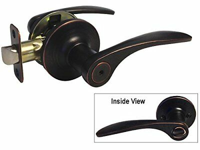 4 Pack Dark Oil Rubbed Bronze Privacy Door Lever Handle Knob Bed and Bath 836DBR