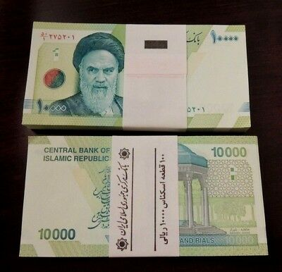 100x10000 Series Iranian Iran Rial Khomeini Collectible Uncirculated Paper Money