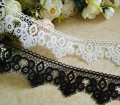 5.5 cm width Beautiful Milky White /Black Venise Lace Trim