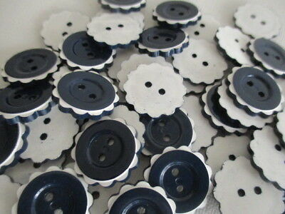 """Lot of 36 Vintage Navy Blue and White Plastic Two-hole Flat Buttons 3/4"""" Frilled"""