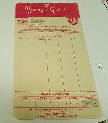 1959 GMH HOLDEN Young & Green Newcastle Dealers Parts Form RARE Nasco