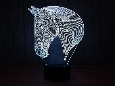 Creative 3D light Animal Horse Model Illusion 3d Lamp LED 7 Color changing US...