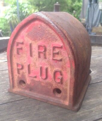 Vintage Cast Iron Fire Plug Red Bookend Doorstop Fire Hydrant Top