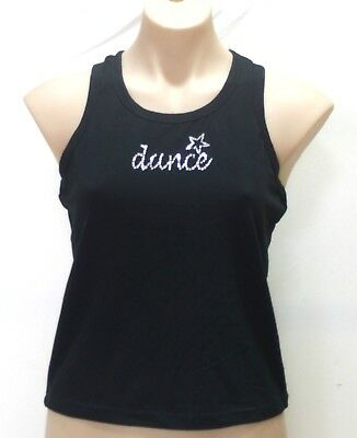 Girls or Women's Racer Back Top with Rhinestone Dance Logo, Black, Pink, New