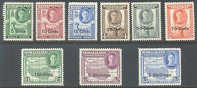SOMALILAND PROTECTORATE 1951 New Currency Values to 2s (9) Mint