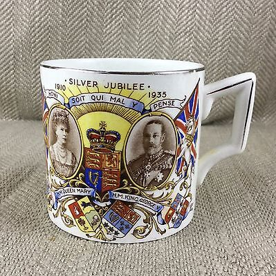 King George V & Queen Mary Silver Jubilee Royal Commemorative Mug Cup