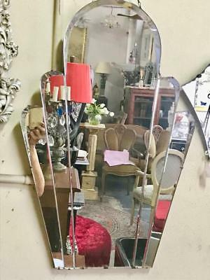 Lovely Art Deco Tri-Form Cathedral Style Mirror 67 X 46 Cm