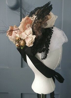 Beautiful 1880s Bustle Era Bonnet With Lace And Beads   - Victorian Antique