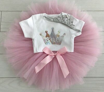 Baby Girls 1st First Birthday Outfit Tutu Skirt Cake Smash Set Pink Tiara 9-12m